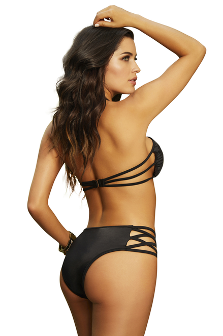 Shop this women's sexy black bandeau halter bikini top with lace up front design and multi strap back