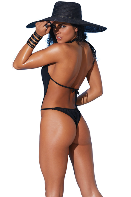 Shop this women's sexy black thong monokini swimsuit featuring a front zipper with deep V neckline and thong back