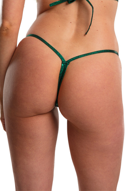 Shop this green twinkle v back bikini thong bottom