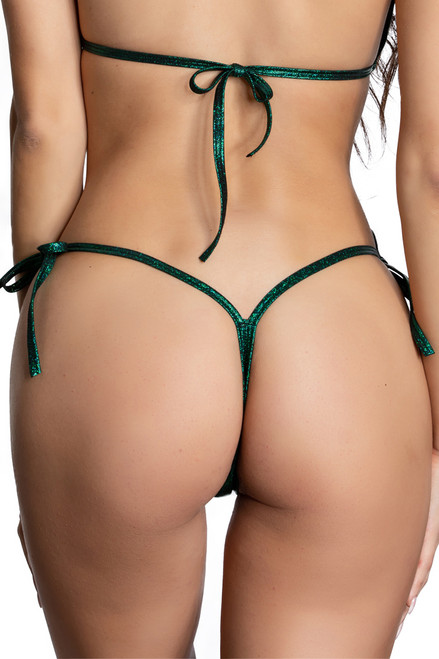 Shop this green micro bikini set that features tie side green twinkle thong bottoms
