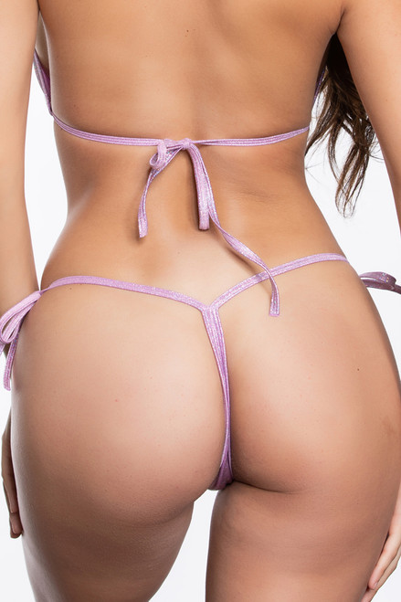Lilac Twinkle Tie Side Thong Bikini Bottoms