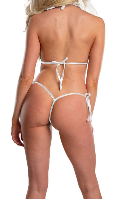 Shop for sexy thong bikini swimwear featuring this tie side string bikini swimwear with white and black colors