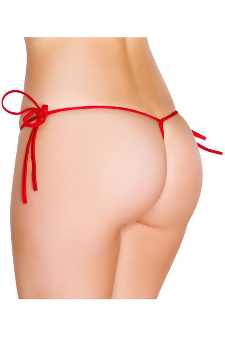 Shop this red string bikini swimwear that features tie sides with g string back