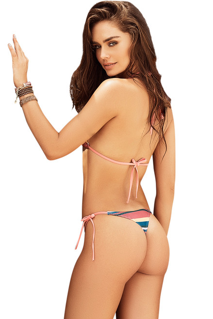thong bikini strings, string bikini thong with stripes