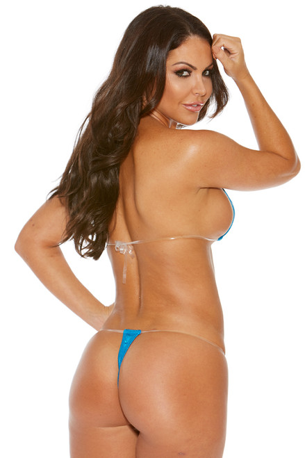 Shop this blue sparkle extreme micro bikini with clear straps
