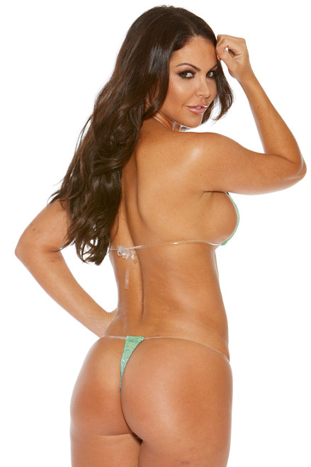 Shop this lime green sparkle extreme micro bikini with clear straps