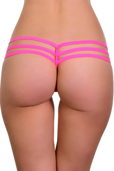 Shop this micro micro thong bikini with Y back thong swimwear with triple strap sides and hot pink