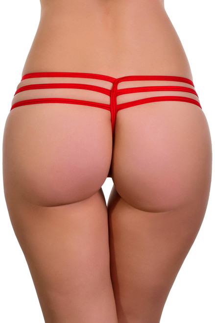 Shop this red micro thong bikini with triple straps