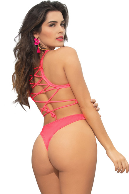 Shop this women's neon pink lace up monokini with keyhole front