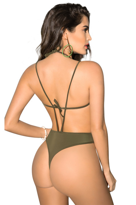 Olive thong monokini one piece swimsuit