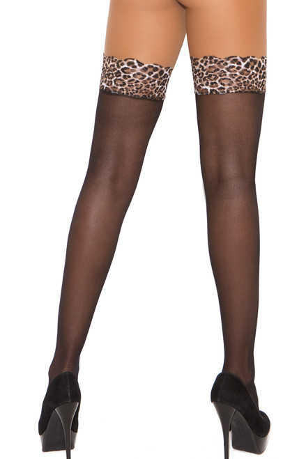 Shop Black Sheer Thigh High Stockings with Leopard Lace Top