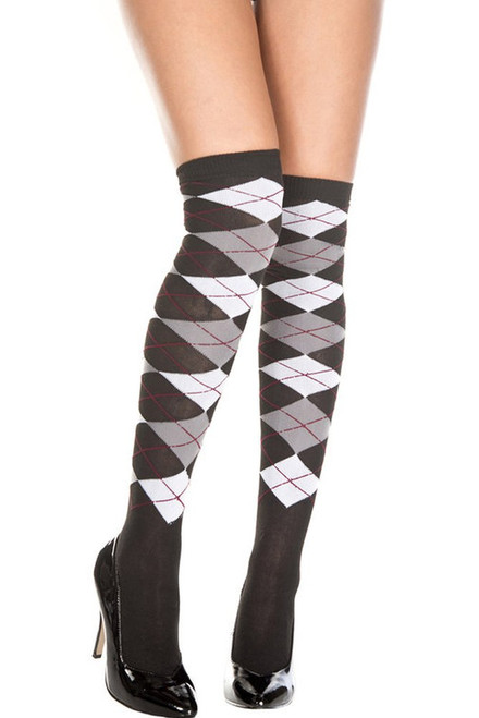 Women's black, grey, and white argyle above the knee stockings