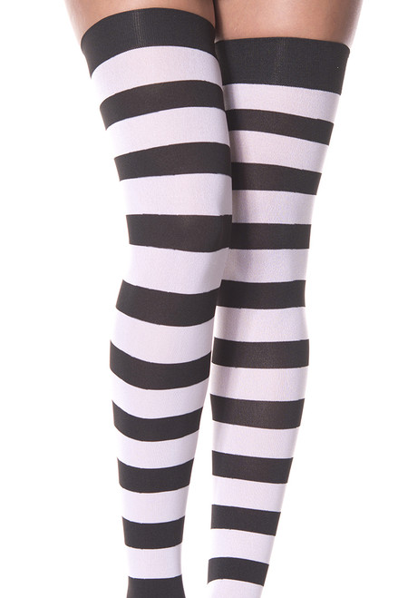 Women's black and white striped thigh high stockings