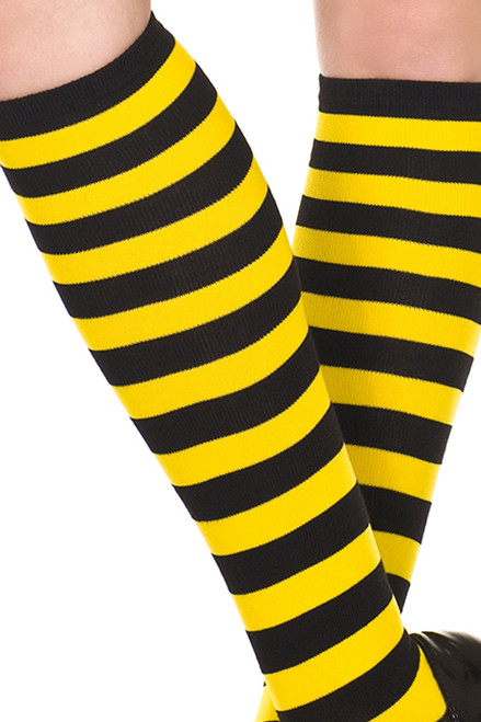 Women's black and yellow striped knee high socks