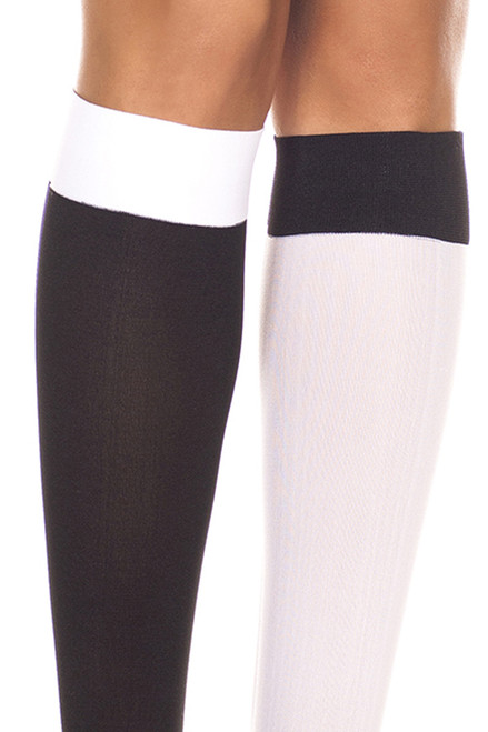 Women's black and white knee high socks