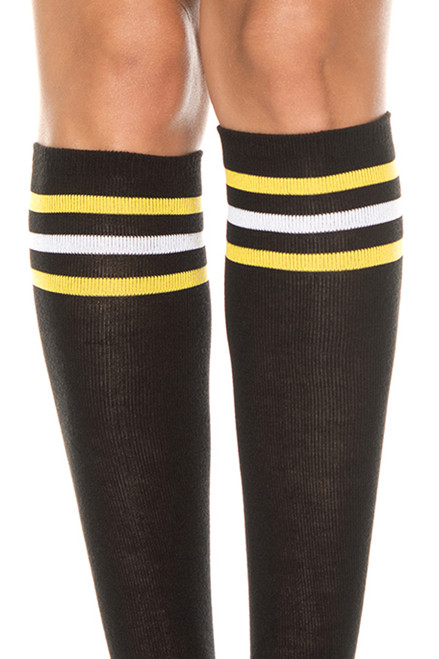 Women's knee high black socks with yellow and white stripes