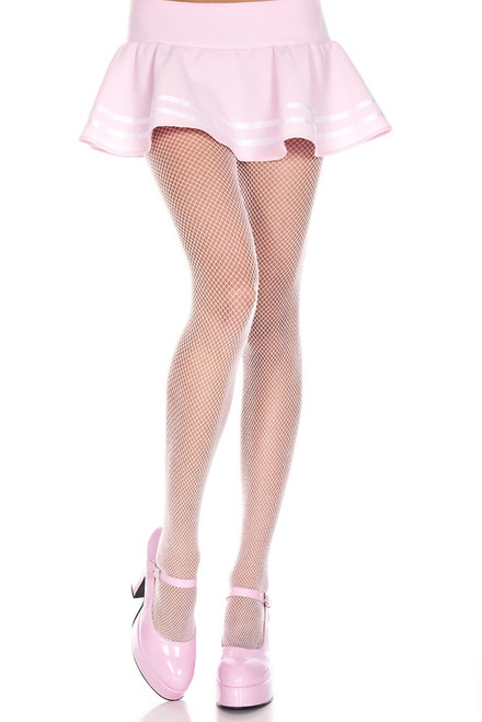 Women's baby pink mini fishnet pantyhose tights