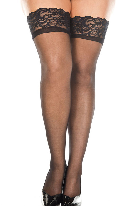 Shop these Plus Size black opaque thigh highs with silicone lace tops