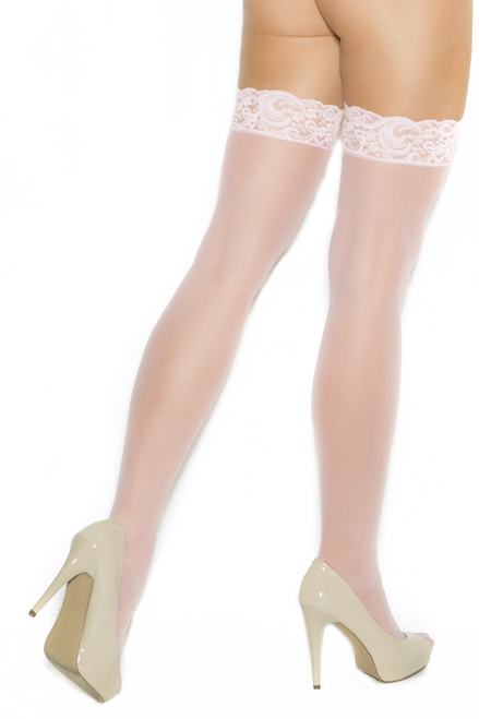 Shop these women's beautiful baby pink opaque thigh high nylon stockings with lace trim tops