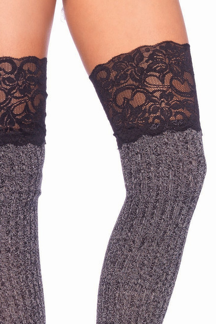 Shop these heather grey thigh high ribbed socks with lace tops