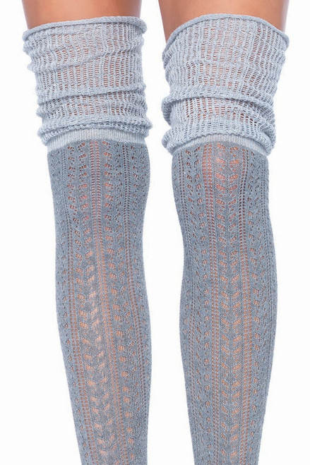 Shop these grey over the knee pointelle thigh high socks featuring soft and comfy knit detail
