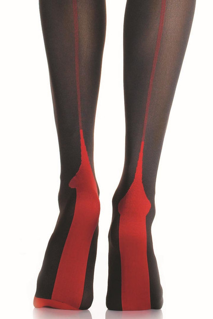 Shop black thigh high stockings with red cuban foot heels