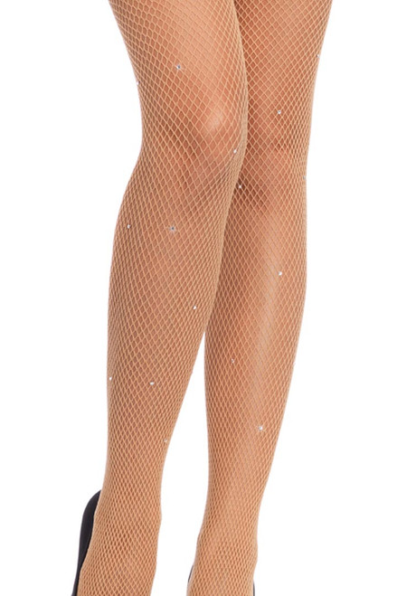 Shop these nude fishnet tights with rhinestone details
