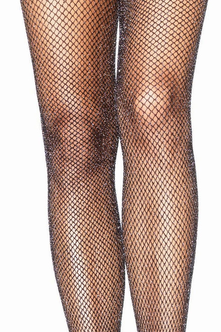 Shop these Halloween tights featuring silver glitter and black fishnet tights