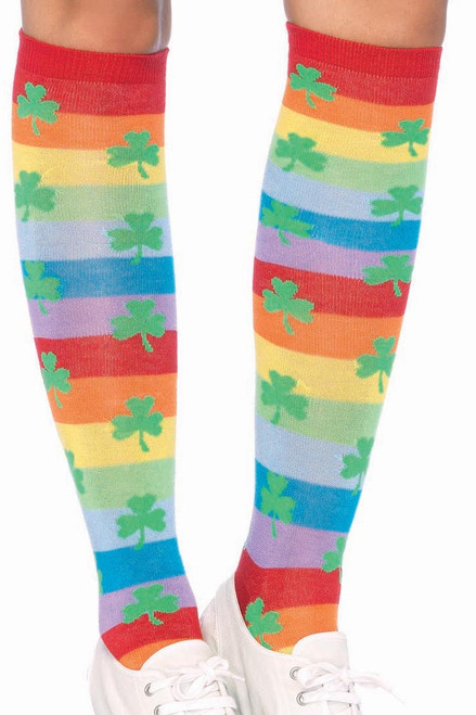 Shop these striped knee high socks featuring rainbow stripes and green clover pattern