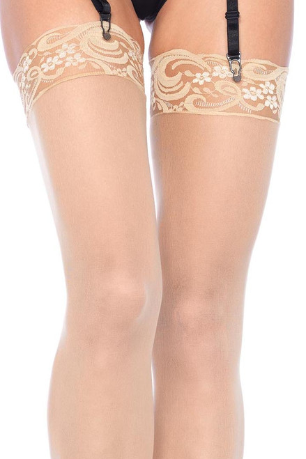 Shop these women's thigh highs with nude nylon