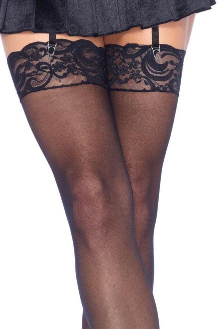 Shop these women's thigh highs with black nylon