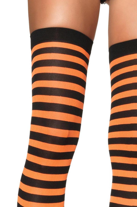 Shop these black and orange striped tights with horizontal stripes and banded thighs