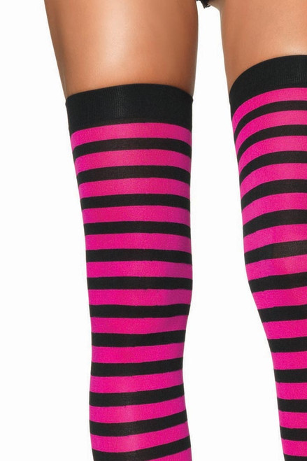 Shop these black and fuchsia striped tights with horizontal stripes and banded thighs