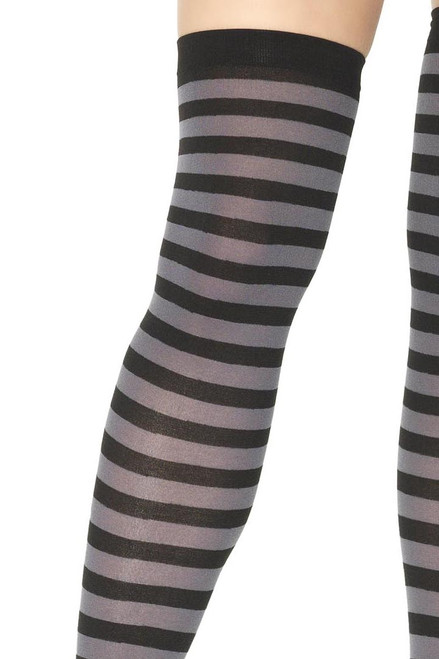 Shop these black and grey striped tights with horizontal stripes and banded thighs