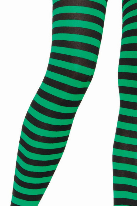 Shop these women's tights with black and green stripes