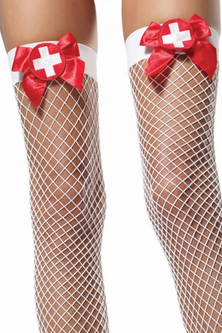 Shop these fishnet stockings featuring nurse costume accessory tights
