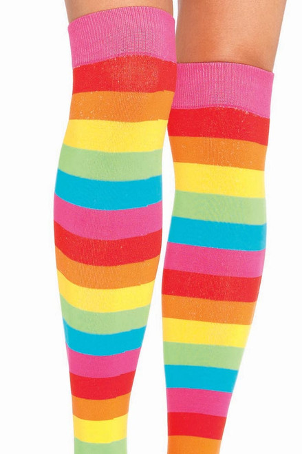 Shop these womens thigh high socks that include rainbow stripes
