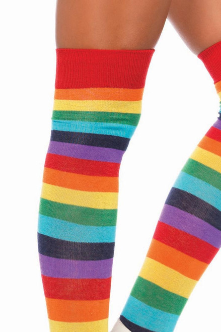 Shop these womens thigh high socks with rainbow stripes
