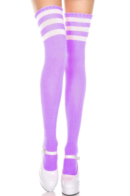 Shop these women's light purple thigh high socks with white stripes. Striped thigh high socks