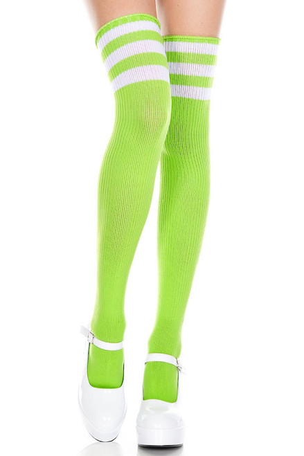 Shop these women's lime green thigh high socks with white stripes. Striped thigh high socks