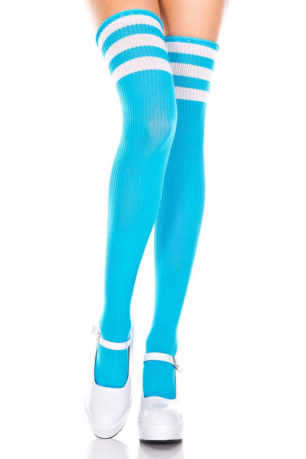 Shop these women's neon blue thigh high socks with white stripes. Striped thigh high socks