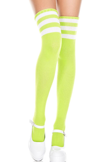 Shop these women's neon green thigh high socks with white stripes. Striped thigh high socks
