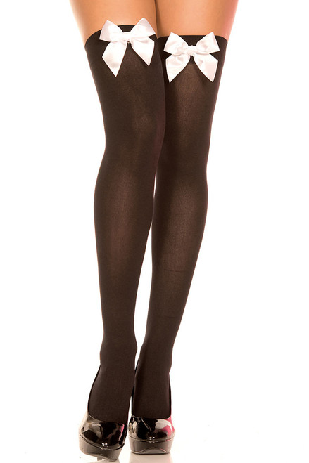Shop these women's black thigh highs with white satin bows