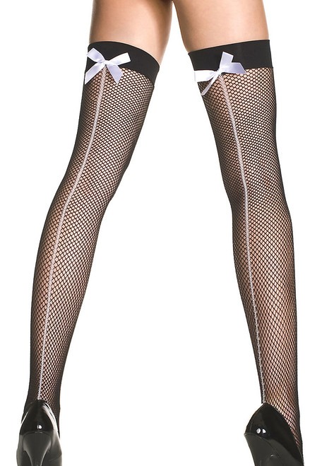 Shop this women's spandex fishnet thigh highs with white backseams and white satin bows