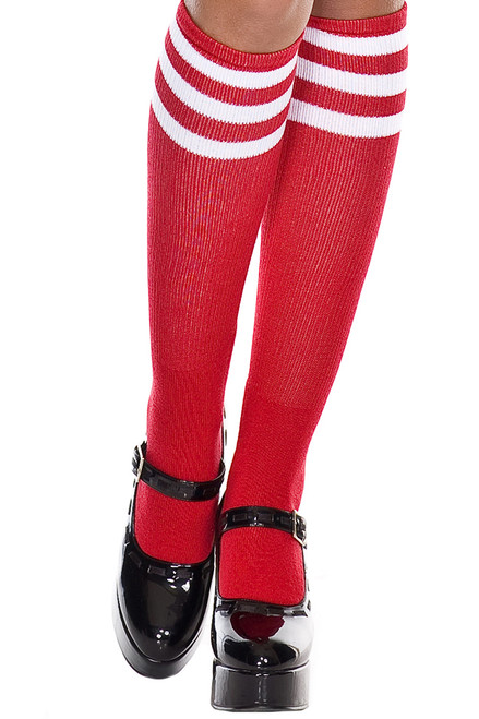 Shop these red and white knee high socks for a sporty look