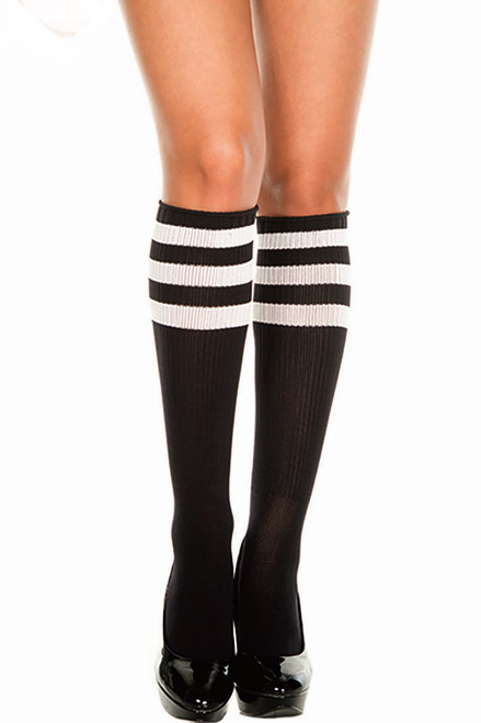 Shop these black and white striped knee high socks with elastic bands for a sporty look