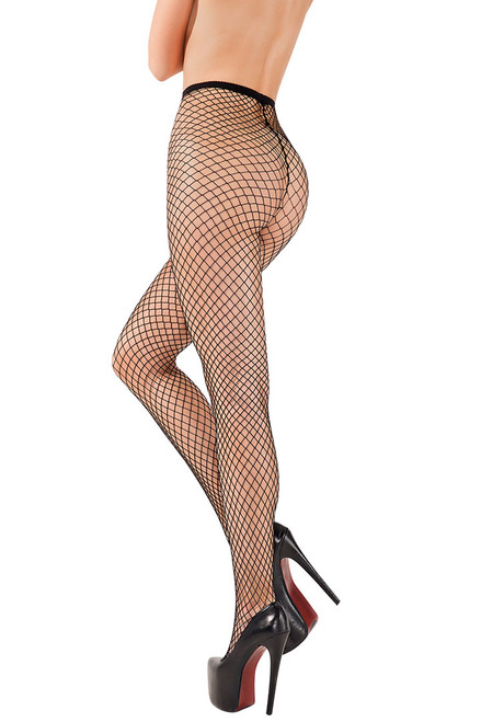 Shop these basic black fishnet tights with high waist and pantyhose with feet