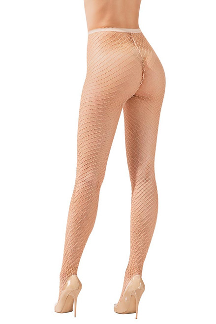Shop these basic nude fishnet tights with high waist and pantyhose with feet