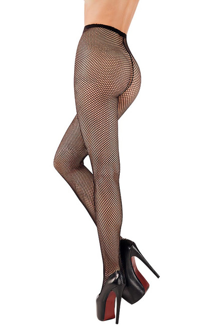 Shop these basic black fishnet tights with high waist and pantyhose with feet with small fishnet pantyhose pattern