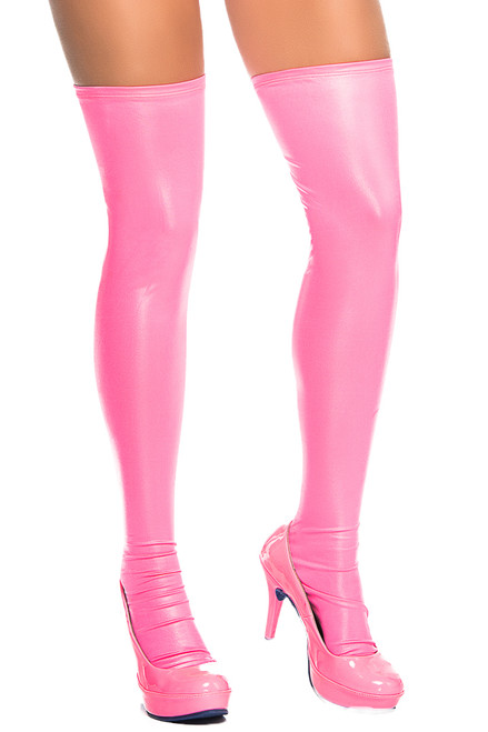 wet look hot pink thigh high stockings, exotic dancewear leg wear, discount stripper leg wear